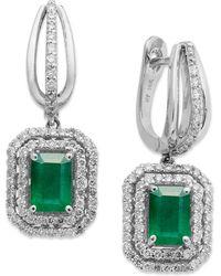 Macy's - 14k White Gold Earrings, Emerald (2 Ct. T.w.) And Diamond (3/4 Ct. T.w.) Drop Earrings - Lyst