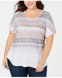Style & Co. - Plus Size Mixed-print T-shirt, Created For Macy's - Lyst