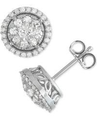 Macy's - Diamond Cluster Halo Stud Earrings (1 Ct. T.w.) In 14k White Gold - Lyst