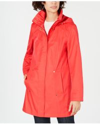 Jones New York - Snap-button Water-resistant Hooded Raincoat - Lyst