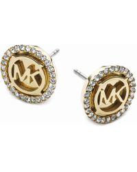 Michael Kors - Gold-tone Logo Pavé Stud Earrings - Lyst