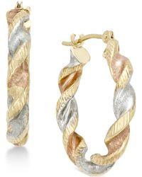 Macy's - Satin Twist Hoop Earrings In 10k Tri-tone Gold - Lyst