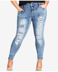 City Chic - Petite Trendy Plus Size Ripped Skinny Jeans - Lyst
