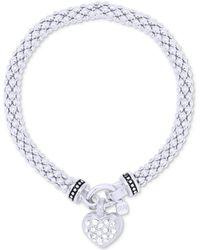 Nine West | Weave-style Pavé Heart Charm Stretch Bracelet | Lyst