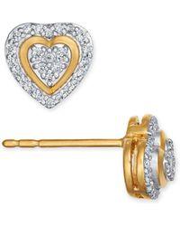 Macy's - Diamond Heart Cluster Stud Earrings (1/5 Ct. T.w.) In 10k Gold, Rose Gold Or White Gold - Lyst