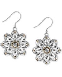 Lucky Brand - Two-tone Openwork Floral Drop Earrings - Lyst
