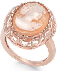 Macy's - Cornelian Shell And Agate Madonna Cameo Ring In 14k Rose Gold - Lyst