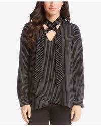 Karen Kane - Striped Criss-cross Shirt - Lyst
