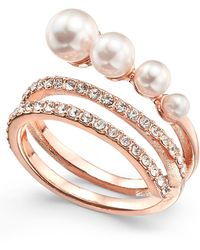 INC International Concepts - Rose Gold-tone Pavé & Imitation Pearl Wrap Ring, Created For Macy's - Lyst