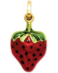 Macy's - 14k Gold Charm, Red And Green Puffed Strawberry Charm - Lyst