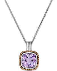 Macy's - Amethyst Pendant Necklace (6 Ct. T.w.) In 18k Rose Gold And Sterling Silver - Lyst