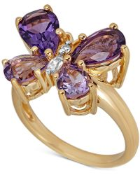 Macy's - Multi-gemstone Butterfly Ring (3-3/8 Ct. T.w.) In 14k Gold-plated Sterling Silver - Lyst