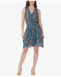 William Rast - Clarissa Printed Tiered Lace-up Dress - Lyst