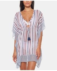9a23177727 Jessica Simpson - Striped Chiffon Border Cover-up With Tassels - Lyst