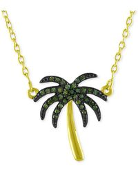 Macy's - Diamond Palm Tree Pendant Necklace (1/10 Ct. T.w.) In 14k Gold-plated Sterling Silver - Lyst
