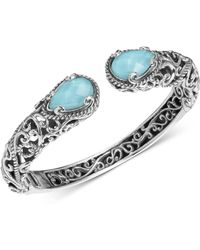 Carolyn Pollack - Turquoise/rock Crystal Doublet Cuff Bracelet In Sterling Silver - Lyst