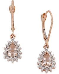 Macy's | Morganite (3/4 Ct. T.w.) And Diamond (1/4 Ct. T.w.) Drop Earrings In 14k Rose Gold | Lyst