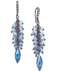 INC International Concepts - Hematite-tone Pavé & Blue Shaky Bead Chandelier Earrings, Created For Macy's - Lyst
