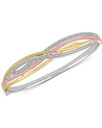 Macy's - Diamond Weave Tri-color Bangle Bracelet (1/4 Ct. T.w.) In Sterling Silver And 14k Gold-plate - Lyst