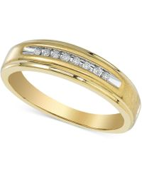 Macy's - Men's Diamond Band (1/10 Ct. T.w.) In 10k Gold - Lyst