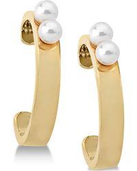 Majorica - Imitation Pearl Hoop Earrings - Lyst