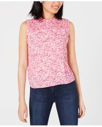 Maison Jules - Smocked Ruffled Printed Top, Created For Macy's - Lyst