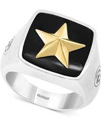Effy Collection - Onyx (15-1/2mm X 15-1/3mm) Star Ring In Sterling Silver & 18k Gold Plate - Lyst