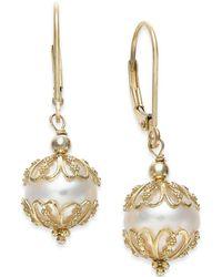 Macy's - Cultured Freshwater Pearl (9-1/2mm) Earrings In 14k Gold - Lyst