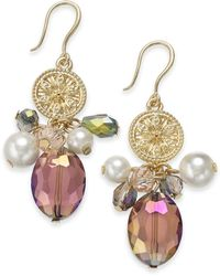 Charter Club - Gold-tone Coin, Bead & Imitation Pearl Drop Earrings, Created For Macy's - Lyst