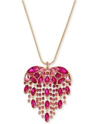 "Betsey Johnson - Gold-tone Crystal Fringe Heart Pendant Necklace, 32"" + 3"" Extender - Lyst"