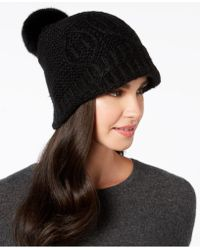 8d7dee726d1 Lyst - Surell Rabbit Fur Knit Aviator Hat in Black