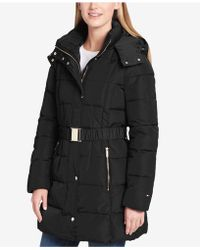 Tommy Hilfiger - Belted Hooded Puffer Coat - Lyst