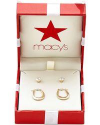 Macy's - Duo Set Cubic Zirconia Stud Earrings And Oval Hoop Earrings In 10k Gold - Lyst