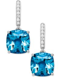 Macy's - Blue Topaz (5-1/2 Ct. T.w.) And Diamond Accent Drop Earrings In 14k White Gold (also Available In Amethyst) - Lyst