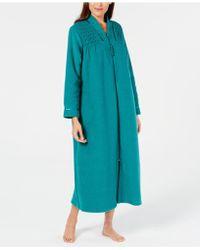 Miss Elaine - Smocked Long Zip Robe - Lyst