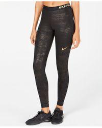 Nike - Pro Metallic-print Leggings - Lyst