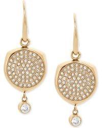 Michael Kors | Gold-tone Stainless Steel Crystal Disc Drop Earrings | Lyst