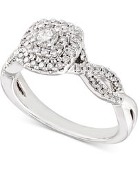 Macy's - Diamond Double Halo Braided Engagement Ring (1/2 Ct. T.w.) In 14k White Gold - Lyst