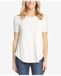 Karen Kane - Crew-neck Faux-pearl-embellished T-shirt - Lyst
