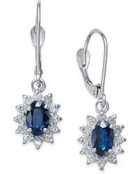 Macy's - Sapphire (1-1/5 Ct. T.w.) And Diamond (1/3 Ct. T.w.) Drop Earrings In 14k White Gold - Lyst
