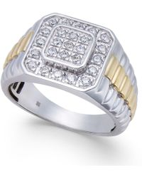 Macy's - Men's Diamond Two-tone Cluster Ring (1/2 Ct. T.w.) In 10k White Gold & Yellow Rhodium-plate - Lyst