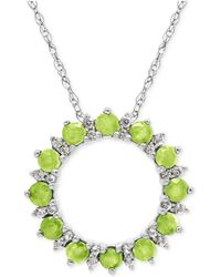 Macy's - Peridot (7/8 Ct. T.w.) And White Topaz (1/5 Ct. T.w.) Circle Pendant Necklace In Sterling Silver - Lyst
