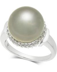 Macy's - Cultured Tahitian Black Pearl (12mm) & Diamond (1/4 Ct. T.w.) Ring In 14k White Gold - Lyst