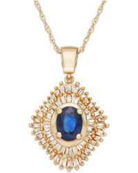 Macy's - Sapphire (9/10 Ct. T.w.) And Diamond (1/2 Ct. T.w.) Pendant Necklace In 14k Gold - Lyst
