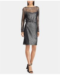 American Living - Metallic Floral-lace Dress - Lyst