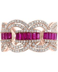 Effy Collection - Effy® Certified Ruby (9/10 Ct. T.w.) & Diamond (3/4 Ct. T.w.) Ring In 14k Rose Gold - Lyst