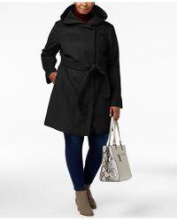 Cole Haan - Plus Size Hooded Belted Walker Coat - Lyst