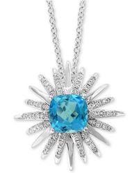 "Effy Collection - Effy® Blue Topaz (3-1/5 Ct. T.w.) & Diamond (3/8 Ct. T.w.) Starburst 18"" Pendant Necklace In 14k White Gold - Lyst"