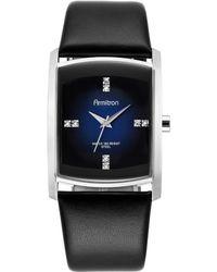 Armitron - Men's Crystal Accent Black Leather Strap Watch 32mm 20-4604dbsvbk - Lyst