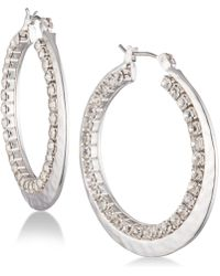Nine West - Pavé Double-row Hoop Earrings - Lyst